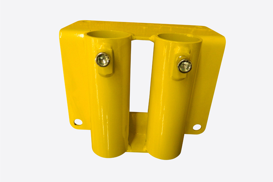 Double Post Flush Mount Rail Holder for Permanent Guardrail Systems